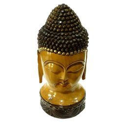 Hand Made Wooden Antique Carving Buddha Head