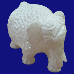 White Marble Carved Elephant