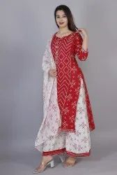 Cotton Kurti With Sharara And Duptta Set