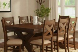 Applewood Brown Wooden Dining Table And Chair, Set Size: 8 Seater