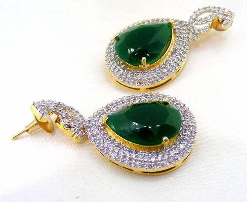 Designer Gold Polished Cubic Zirconia Emerald Stone Earrings