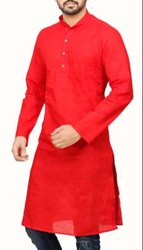 Casual Wear Nehru Mens Red Cotton Plain Kurta, Size/Dimension: Large, Size: 38 - 42