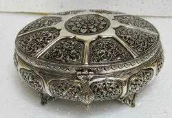 Metal Round Dryfruit Aur Jewellery Box