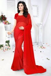 Georgette Fashion Arrival  Stone Work Red Color Saree