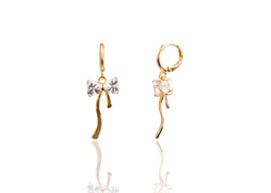 24k Gold Plated Notch Shape American Diamond Earring