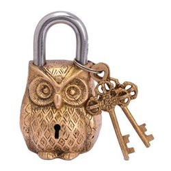 Traditional Golden Brass Padlocks with Two Keys