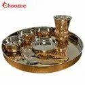 Choozee - Copper Thali Set (8 Pcs) of Thali, Bowl, Spoon & Matka Glass