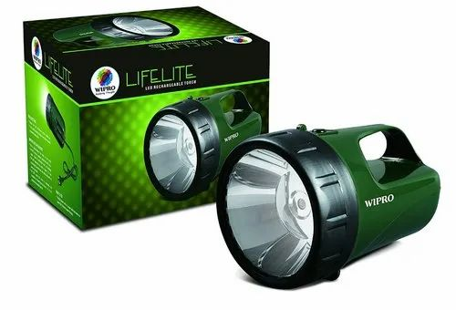 Plastic Cool White Wipro Lifelite 3w CL0004 Rechargeable LED Torch, Battery Type: Lithium Ion