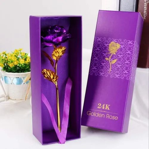 7668855d7f8 ShopAIS 24k Gold Rose With Gift Box And Carry Bag-Purple