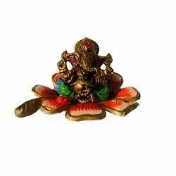 Brass Flower Ganesha Statue