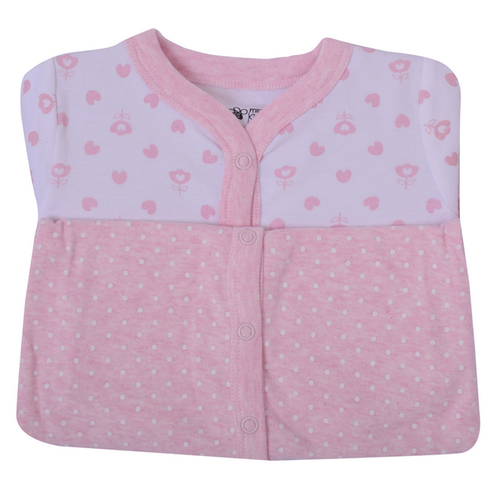 386742601 Pink And White Cotton Mini Klub Pink Heart New Born Baby Sleep-Suits ...