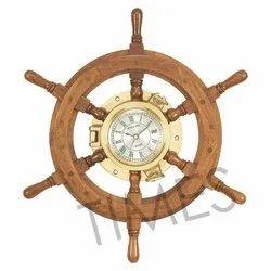 Aar6 Battery Antique Ship Wheel Clock, Size: 16 Inch