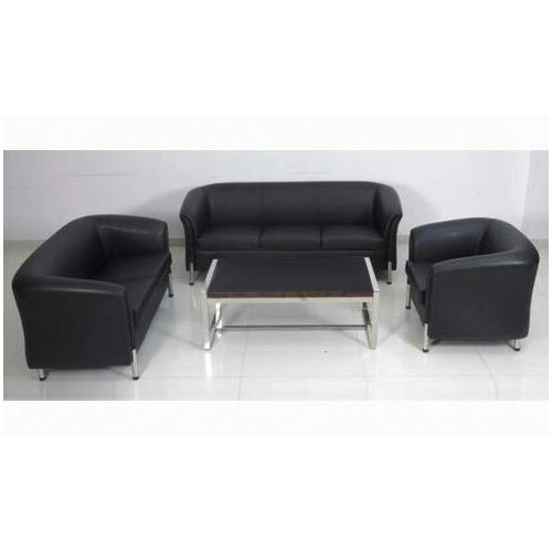 Black Fancy Complete Office Sofa 6 Seater 1 Center Table Rs 27500