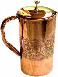 Pure Copper Pitcher Ayurveda Copper Jug Pitcher and Tumbler With Lid