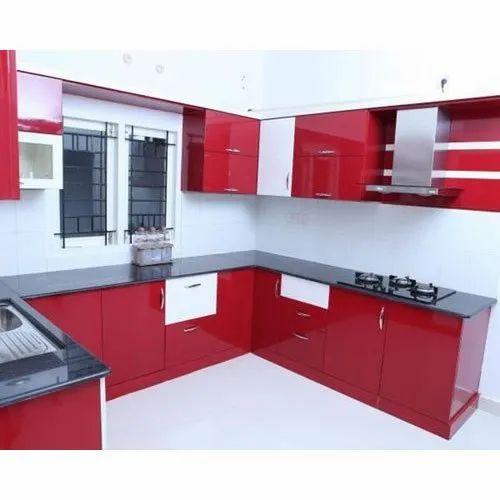 Acrylic Laminated Modular Kitchen, Acrylic kitchen cabinet, High ...