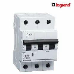 50 Hz Legrand RX3 40A Triple Pole MCB, Breaking Capacity: 10 K