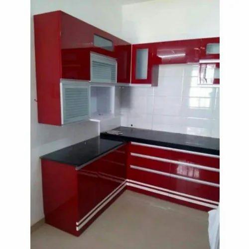 l shape pvc modular kitchen पीवीसी मॉड्यूलर किचन पीवीसी