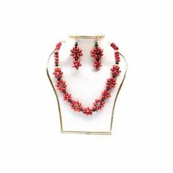 Red Nature Jewels Bamboo Necklace Earring Set, Party, Jewellery Type: With Earing