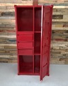 Red Container Style Industrial Metal Almirah With 3 Drawers, Container Style Furniture