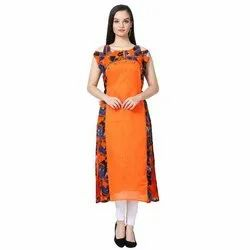 Georgette LKAAAF-23B Orange Ladies Kurti