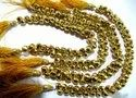 Natural Golden Pyrite Onion Shape Briolette Faceted Beads 6-7mm Strand 10 inch Long