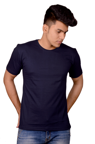 918a8995ed3 Cotton Navy Blue Plain T-Shirt