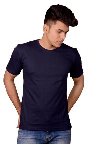 Cotton Navy Blue Plain T-Shirt, Size: S, M And L, Rs 110 ...