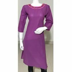 Purple Cotton Plain Kurti