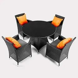 Universal Furniture Black Patio Table & Chair with Cushions