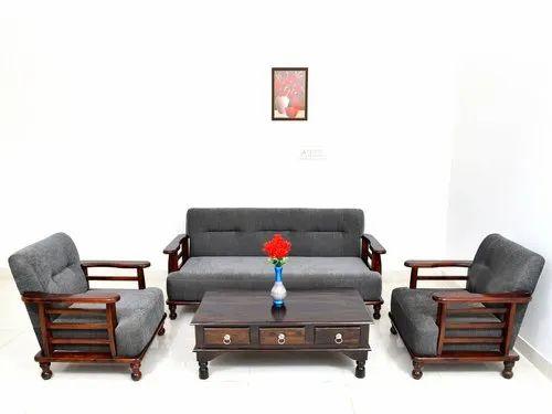 Sheesham Wood Sofa Set With Grey Cushion