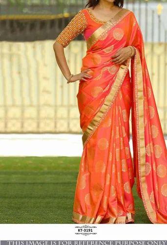 f2aa6ba2c9c528 Designer Silk Jacquard Orange Gold Combination Saree Blouse - Nardev ...