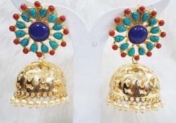 Hand Made Color Stone Jhumka Earrings