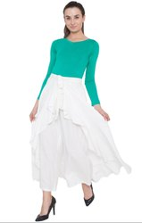 White American Crepe Ruffel Palazzo Skirt