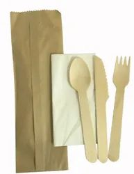 Cutlery Set With Napkin And Recycled Paper Pouch