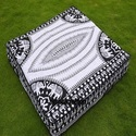 Indian Black & White Elephant Square Mandala Cushion Cover
