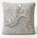 16 X 16 Inch Grey Floral Embroidery Cushion Cover