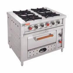 NARU 4 Nos Stainless Steel Commercial Four Burner Range, For Restaurant