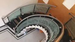 Transparent Staircase Bend Glass , Thickness: 6mm To 18mm