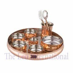 Luxury Class Copper Thali Set Utensils