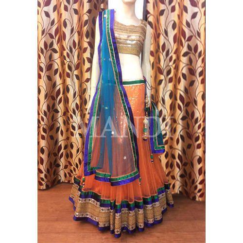 d8c78cb553 Chanderi Gota Work Orange Lehenga Choli, Rs 18500 /piece, Avikalp ...