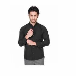 UB-SHI-05 Black Ban Collar Uniform Shirt For Men