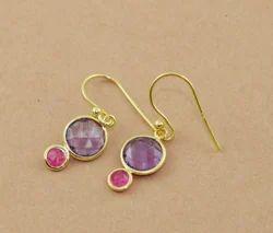 925 Sterling Silver Amethyst Pink Chalcedony Gemstone Earring