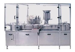 Automatic Injectable Vial Liquid Filling Machine With Rubber Stoppering Unit & Infeed Turn Table