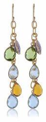 Bezel Gemstone Fashion Hook Earrings