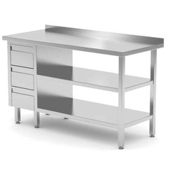 Stainless Steel Work Table with Three Drawer, for Hotel
