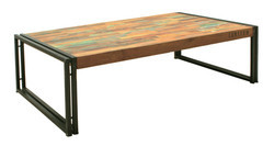 Metal Base Large Coffee Table, Reclaimed Wood Coffee Table
