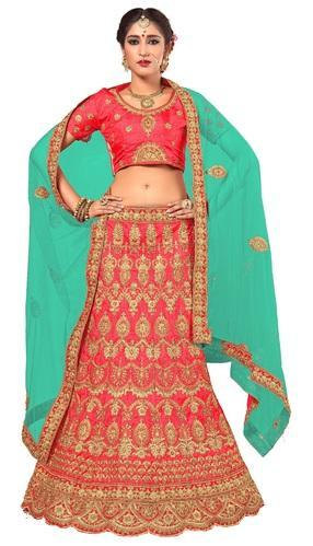 5cc3d12d35 Ujjwal Creation Bridal Wedding Wear Red Art Silk Lehenga Choli & Dupatta
