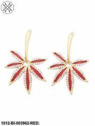 Red Leaf Gold Plated Designer Earring