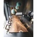 Brown Unique Wooden Dining Table Set