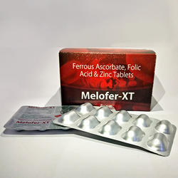 Melofer-XT Ferrous Ascorbate Folic Acid Zinc Iron Tab, 10x10, Packaging Type: Alu-alu